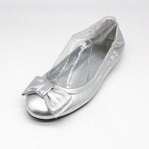 Lauren Ralph Lauren Silver Bow Ballet Flats